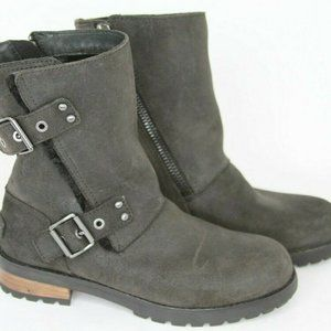 UGG Pure Western Suede Leather Wool Ankle Boots